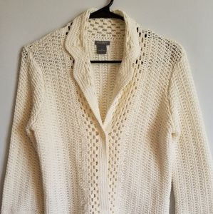 Ann Taylor Jacket Cotton Open Weave Knit Size SP